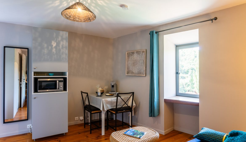 Salon de l'appartement QUERCY - Location vacances gîte à Cabrerets Un Jardin dans la Falaise
